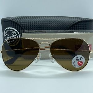 New Rayban Aviator Polarized 3025 Gold/Brown Polar